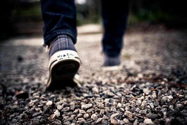 前を見ながら歩く