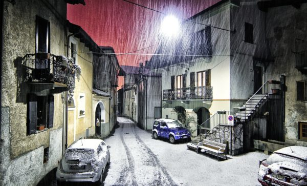 雪から雨に変わる